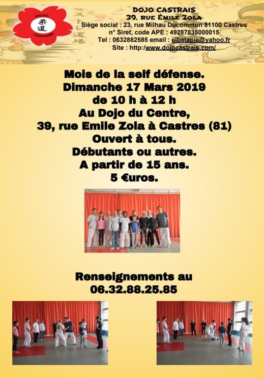 STAGE DE SELF DÉFENSE LE 17 MARS 2019